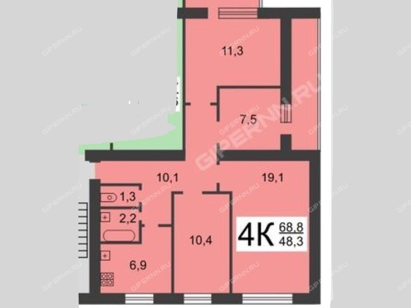 четырёхкомнатная квартира на улице Архангельская дом 22